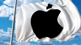 Waving flag with Apple logo against moving clouds. 4K editorial animation