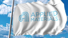 Waving flag with Applied Materials logo. Editoial 3D rendering Royalty Free Stock Image
