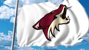 Waving flag with Arizona Coyotes NHL hockey team logo. 4K editorial clip. Waving flag with Arizona Coyotes NHL hockey team logo. 4K editorial animation stock illustration