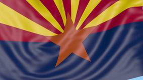 Waving flag of Arizona state against blue sky. Seamless loop 4K clip. ProRes stock footage