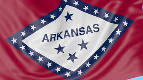 Waving flag of Arkansas state against blue sky. Seamless loop 4K clip. ProRes stock footage