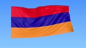 Waving flag of Armenia, seamless loop. Exact size, blue background. Part of all countries set. 4K ProRes with alpha. Flapping flag of Armenia, blue background stock illustration