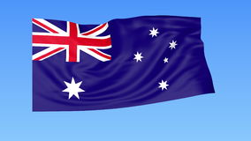 Waving flag of Australia, seamless loop. Exact size, blue background. Part of all countries set. 4K ProRes with alpha. Flapping flag of Australia, blue stock illustration