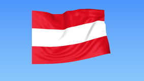 Waving flag of Austria, seamless loop. Exact size, blue background. Part of all countries set. 4K ProRes with alpha. Flapping flag of Austria, blue background vector illustration