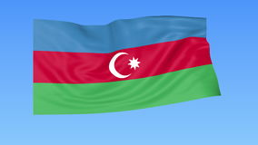 Waving flag of Azerbaijan, seamless loop. Exact size, blue background. Part of all countries set. 4K ProRes with alpha. Flapping flag of Azerbaijan, blue royalty free illustration
