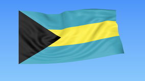 Waving flag of Bahamas, seamless loop. Exact size, blue background. Part of all countries set. 4K ProRes with alpha. Flapping flag of Bahamas, blue background royalty free illustration