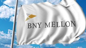 Waving flag with The Bank Of New York Mellon logo. 4K editorial animation. Waving flag with The Bank Of New York Mellon logo. 4K editorial clip royalty free illustration