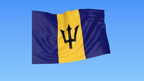 Waving flag of Barbados, seamless loop. Exact size, blue background. Part of all countries set. 4K ProRes with alpha. Flapping flag of Barbados, blue background vector illustration