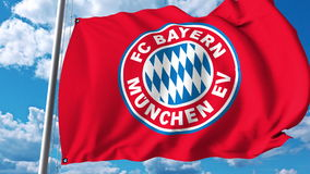 Waving flag with Bayern Munchen football team logo. Editorial 3D rendering. Waving flag with Bayern Munchen football team logo. Editorial 3D Royalty Free Stock Images