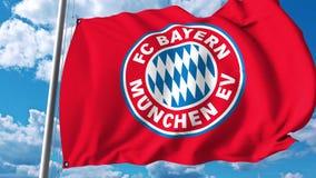 Waving flag with Bayern Munchen football team logo. 4K editorial clip. Waving flag with Bayern Munchen football team logo. 4K editorial animation stock illustration