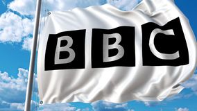 Waving flag with BBC logo against moving clouds. 4K editorial animation. Waving flag with BBC logo against moving clouds. 4K editorial clip vector illustration