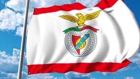 Waving flag with Benfica football team logo. Editorial 3D rendering. Waving flag with Benfica football team logo. Editorial 3D Stock Photos
