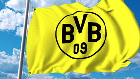 Waving flag with Borussia Dortmund football team logo. Editorial 3D rendering. Waving flag with Borussia Dortmund football team logo. Editorial 3D Royalty Free Stock Photo