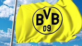 Waving flag with Borussia Dortmund football team logo. 4K editorial clip. Waving flag with Borussia Dortmund football team logo. 4K editorial animation royalty free illustration