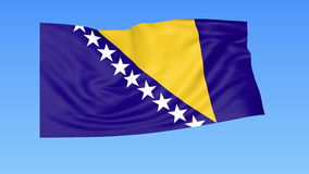 Waving flag of Bosnia and Herzegovina, seamless loop. Exact size, blue background. Part of all countries set. 4K. Flapping flag of Bosnia and Herzegovina, blue vector illustration