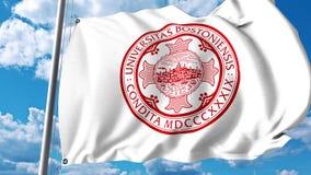 Waving flag with Boston University emblem. 4K editorial clip. Waving flag with Boston University emblem. 4K editorial animation stock video footage