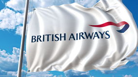 Waving flag with British Airways logo against sky and clouds. Editorial 3D rendering. Waving flag with British Airways logo against sky and clouds. Editorial 3D stock illustration