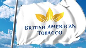 Waving flag with British American Tobacco BAT logo against clouds and sky. 4K editorial animation royalty free illustration