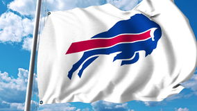 Waving flag with Buffalo Bills professional team logo. Editorial 3D rendering. Waving flag with Buffalo Bills professional team logo. Editorial 3D stock photos