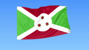 Waving flag of Burundi, seamless loop. Exact size, blue background. Part of all countries set. 4K ProRes with alpha. Flapping flag of Burundi, blue background vector illustration