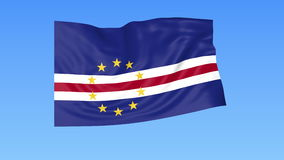 Waving flag of Cabo Verde, seamless loop. Exact size, blue background. Part of all countries set. 4K ProRes with alpha. Flapping flag of Cabo Verde, blue stock illustration
