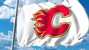 Waving flag with Calgary Flames NHL hockey team logo. 4K editorial clip. Waving flag with Calgary Flames NHL hockey team logo. 4K editorial animation vector illustration