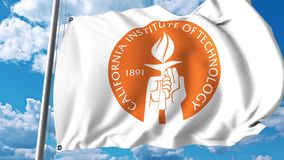 Waving flag with California Institute of Technology emblem. 4K editorial clip. Waving flag with California Institute of Technology emblem. 4K editorial animation stock footage