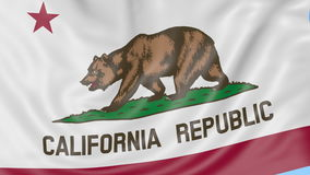 Waving flag of California state against blue sky. Seamless loop 4K clip. ProRes stock video