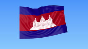 Waving flag of Cambodia, seamless loop. Exact size, blue background. Part of all countries set. 4K ProRes with alpha. Flapping flag of Cambodia, blue background stock footage