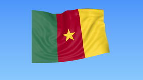 Waving flag of Cameroon, seamless loop. Exact size, blue background. Part of all countries set. 4K ProRes with alpha. Flapping flag of Cameroon, blue background stock video footage