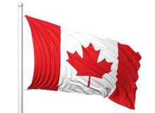 Waving flag of Canada on flagpole Royalty Free Stock Photos