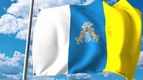 Waving flag of Canary Islands, an autonomous community in Spain. 3D rendering Stock Photos