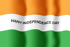 Waving flag on Celebrating India Independence Day Stock Photo