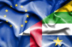 Waving flag of Central African Republic and EU. Waving flag of Central African Republic and stock photo