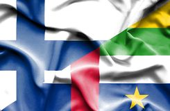 Waving flag of Central African Republic and Finland stock photography
