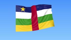 Waving flag of Central African Republic, seamless loop. Exact size, blue background. Part of all countries set 4K ProRes. Flapping flag of CAR, blue background royalty free illustration