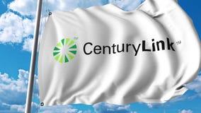 Waving flag with CenturyLink logo. 4K editorial animation