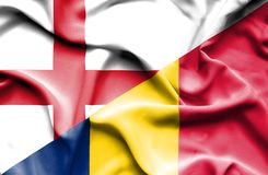 Waving flag of Chad and England royalty free stock photos