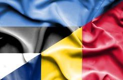 Waving flag of Chad and Estonia stock photos