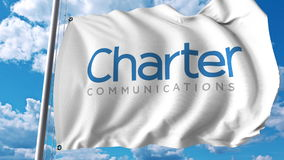 Waving flag with Charter Communications logo. Editoial 3D rendering. Waving flag with Charter Communications logo. Editorial 3D Stock Images