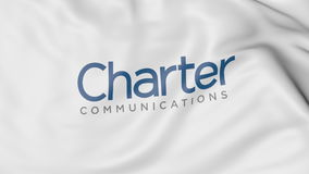 Waving flag with Charter Communications logo. Editorial 3D rendering. Waving flag with Charter Communications logo. Editorial 3D Stock Images