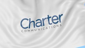 Waving flag with Charter Communications logo. Seamles loop 4K editorial animation. Waving flag with Charter Communications logo. Seamles loop 4K editorial clip stock video footage