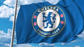 Waving flag with Chelsea football team logo. Editorial 3D rendering. Waving flag with Chelsea football team logo. Editorial 3D Royalty Free Stock Photos