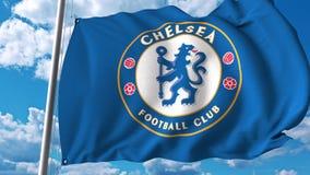 Waving flag with Chelsea football team logo. 4K editorial clip. Waving flag with Chelsea football team logo. 4K editorial animation royalty free illustration
