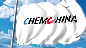 Waving flag with ChemChina logo against clouds and sky. 4K editorial animation stock video footage