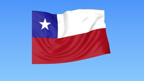 Waving flag of Chile, seamless loop. Exact size, blue background. Part of all countries set. 4K ProRes with alpha. Flapping flag of Chile, blue background vector illustration