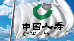 Waving flag with China Life Insurance logo against sky and clouds. Editorial 3D rendering Royalty Free Stock Photography