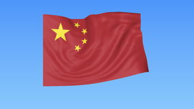 Waving flag of China, seamless loop. Exact size, blue background. Part of all countries set. 4K ProRes with alpha. Flapping flag of PRC, blue background stock video