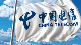 Waving flag with China Telecom logo against sky and clouds. Editorial 3D rendering. Waving flag with China Telecom logo against sky and clouds. Editorial 3D Royalty Free Stock Photo
