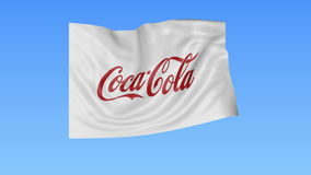 Waving flag with Coca-Cola logo, seamless loop, blue background. Editorial animation. 4K ProRes, alpha. Flapping flag with Coca-Cola logo, seamless looping vector illustration